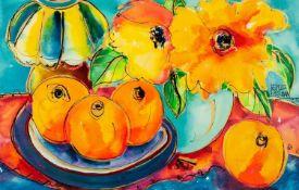 NEVILLE HICKMAN (TWENTIETH CENTURY) TWO WORKS, GOUACHE ON PAPER Still life Studies Oranges,