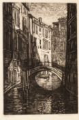 NORMAN JAQUES (1922-2014) TWO MONOCHROME AQUATINT ETCHINGS?Venetian Canal?, Signed Artist?s Proof