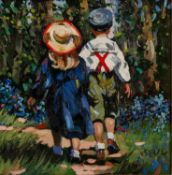 SHERREE VALENTINE DAINES (b.1959) OIL ON BOARD ?Morning Stroll? Initialled, titled to label verso