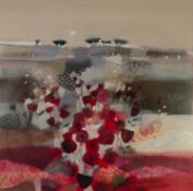 EMMA S. DAVIS (b. 1975) MIXED MEDIA ON BOARD ?Forever? Signed, titled verso 29 ½? X 29 ½? (75cm x