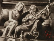 FABIAN PEREZ (b.1967) MONOCHROME WATERCOLOUR AND INK ON PAPER Self Portrait with girl and guitar