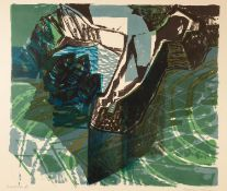 NORMAN JAQUES (1922-2014) TWO ARTIST SIGNED LIMITED EDITION COLOUR PRINT ?Goal?, (12/20) 24? x 19 ½?