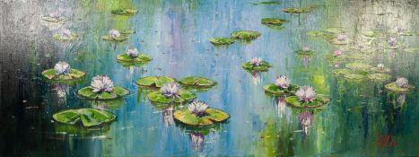 VIILLALBA (TWENTIETH/ TWENTY FIRST CENTURY) OIL ON CANVAS ?Floating Flowers III? Signed, titled to