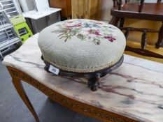 NINETEENTH CENTURY WALNUT CIRCULAR TABOURET FOOTSTOOL, COVERED IN FLORAL NEEDLEWORK TAPESTRY, ON