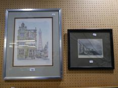 """KINGSLEY ARTIST SIGNED COLOUR PRINT 'BLACKPOOL' WITH TOWER IN THE DISTANCE 14"""" X 11"""" NINETEENTH"""