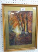 A SMALL OIL PAINTING, WOODLAND SCENE