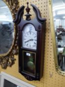 AN 'EMPEROR' QUARTZ DROP DIAL WALL CLOCK WITH WESTMINISTER CHIME