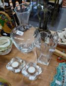 PLAIN GLASS OVULAR VASE WITH FLARED NECK, 12? HIGH ANOTHER SHAPED GLASS VASE, 7? HIGH AND PAIR OF