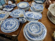 THIRTY NINE PIECE ?STAFFORD? BLUE AND WHITE POTTERY PART DINNER SERVICE FOR SIX PERSONS, one bowl