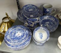SPODE?S ?ITALIAN? BLUE AND WHITE POTTERY PART DINNER SERVICE FOR SIX PERSONS