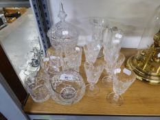 FIVE CRYSTAL D?ARQUES, FRENCH CUT GLASS TUMBLERS, A SET OF SIX ROYAL COUNTY CUT GLASS WINE GOBLETS