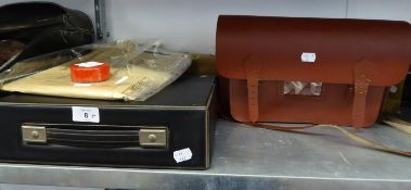 UNDERWOOD MANUAL TYPEWRITER IN CASE, CARBON AND TYPING PAPER, RIBBONS, SCHOOL SATCHEL BAG AND A
