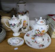 *FIVE ROYAL DOULTON CHRISTMAS PLATES (BOXED), WEDGEWOOD 'HATHAWAY' COFFEE POT, FINE BONE CHINA TABLE