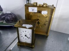 ACCTIM BRASS MANTEL CLOCK WITH BATTERY MOVEMENT AND BAYARD, FRENCH MODERN 8 DAY BRASS AND GLASS