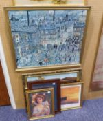 OIL PAINTING, LAKE AND MOUNTAINS, A TITANIC PRINT AND THREE OTHER COLOUR PRINTS (5)