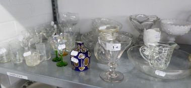 BLUE AND GOLD DECORATED PERFUME BOTTLE (LACKS TOP) AND VARIOUS ANTIQUE DRINKING GLASSES, CUT AND