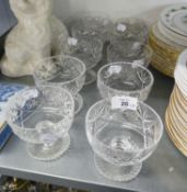 A SET OF FOUR CUT GLASS SUNDAE DISHES, ANOTHER SET OF FOUR AND TWO OTHERS (10)