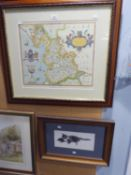 GELDART ARTIST SIGNED LIMITED EDTION PRINT OF A PENCIL DRAWING 'CAT' REPRODUCTION ANTIQUE MAP OF
