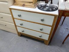 ART DECO LIGHT OAK CHEST OF THREE LONG DRAWERS WITH WHITE PAINTED SURFACES AND SHOW WOOD FRAMES