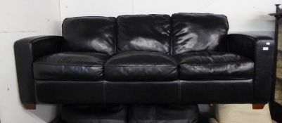 BLACK LEATHER THREE SEATER SOFA, WITH FITTED CUSHIONS