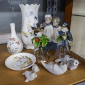 NAO, SPANISH PORCELAIN GROUP OF TWO CHOIR BOYS; FOUR CHINA SEALS AS A FAMILY GROUP; AYNSLEY CHINA