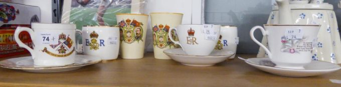 TWO GEORGE V JUBILEE BEAKERS AND EIGHT PIECES OF ROYAL COMMEMORATIVE CHINA
