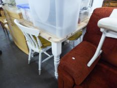 A WHITE PAINTED WOOD KITCHEN TABLE WITH PINE TOP, TURNED TAPERING LEGS, 3? SQUARE AND A PAIR OF