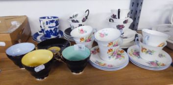 SIX SHELLEY CHINA TEA CUPS AND SAUCERS PRINTED WITH BOUQUETS OF FLOWERS; ROYAL ALBERT CHINA ?