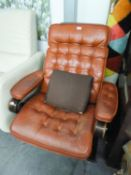 STYLISH BENTWOOD CANTILEVER EASY ARMCHAIR, WITH BUTTON UPHOLSTERED BACK, ELBOW RESTS AND SEAT,