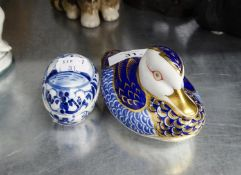 ROYAL CROWN DERBY CHINA DUCK PATTERN PAPERWEIGHT AND A BLUE AND WHITE CHINA EGG SHAPED SMALL BOX AND