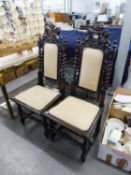 PAIR OF DARK STAINED OAK JACOBEAN REVIVAL HIGH-BACK CHAIRS (2)