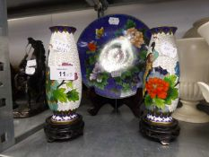 A PAIR OF ORIENTAL CLOISONNÉ ENAMELLED VASES DECORATED WITH PEACOCKS, ON A WHITE GROUND, 6? HIGH AND