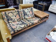"""1970's TEAK TWO SEATER SETTEE, WITH FOUR LOOSE CUSHIONS AND REMOVABLE END COFFEE TABLE, 6'3"""" LONG,"""