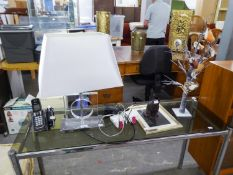 PANASONIC ROAMING TELEPHONE RECEIVER AND DOCK; A MODERN BRIGHT METAL AND PERSPEX TABLE LAMP WITH
