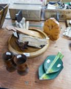JEFF WRIGLEY TURNED WOOD LARGE FRUIT BOWL, WOOD AND GLASS BOOKSTAND AND OTHER WOOD RELATED ITEMS