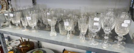LARGE QUANTITY OF DRINKING GLASSES VARIOUS, COMPRISING OF BRANDY, SHERRY ETC....
