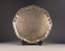 PRESENTATION SILVER SALVER BY EDWARD VINERS, with gadrooned border to the wavy outline, raised on