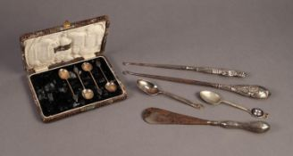 CASED PART SET OF FOUR BLACK BEAN TOP COFFEE SPOONS, Birmingham 1924, together with TWO STEEL BUTTON