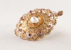 9ct GOLD OVAL PENDANT, the fancy domed front mounted in the centre with a baroque pearl, the
