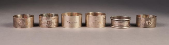 SIX VARIOUS SILVER NAPKIN RINGS, including an ENGINE TURNED PAIR and a PLAIN PAIR, 4oz, (6)