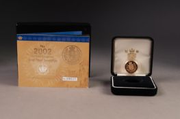 ROYAL MINT QUEEN ELIZABETH II GOLD PROOF FULL SOVEREIGN dated 2002, encapsulated and in plush