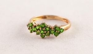 9ct FOLD AND TINY PERIDOT TRIPLE CLUSTER RING set with seven stone centre daisy cluster flanked by