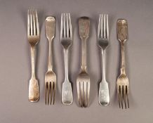 SIX VICTORIAN SILVER FIDDLE PATTERN DESSERT FORKS, comprising: a SET OF THREE BY GEORGE W ADAMS,