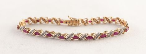 9ct GOLD, RUBY AND DIAMOND BRACELET, with 18 yellow and white gold 'X' shaped links each set with