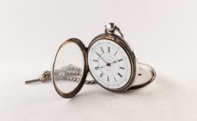 VICTORIAN SILVER CENTRE SECONDS CHRONOGRAPH, with key wind movement, white two-part roman dial, 2
