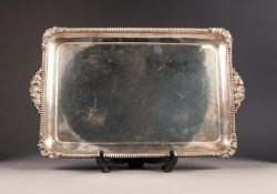 VICTORIAN SILVER TWO HANDLED TRAY BY WALTER & JOHN BARNARD, of rounded oblong form with plain