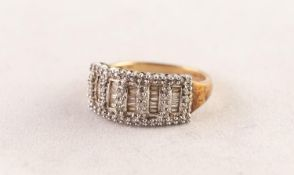 9ct GOLD AND TINY DIAMOND RING, the six rung ladder pattern top set with numerous tiny diamonds, the