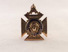 9ct GOLD AND BLUE ENAMELLED MEDALLION for the Royal Antidiluvian Order of Buffaloes, Chester