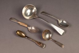 VICTORIAN SILVER SAUCE LADLE, initialled, 7? (17.8cm) long, London 1844, together with a GEORGE