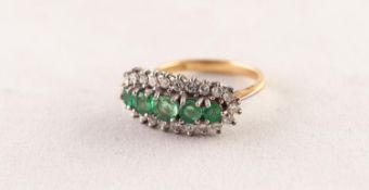 18ct GOLD, EMERALD AND DIAMOND RING set with a row of five round emeralds graduating from the centre